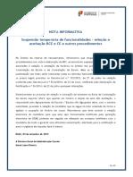 Nota Informativa - Suspensão Temporária de Funcionalidades – Seleção e Aceitação BCE e CE e Outros Procedimentos