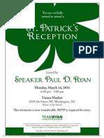 St. Patrick's Reception for Paul Ryan