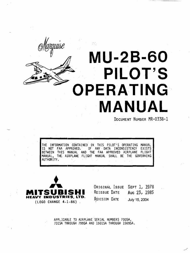 mitsubishi mu 2b 60 marquise pilot s operating manual power rh scribd com