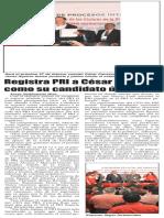21-02-16 Registra PRI a César Cavazos como su candidato único