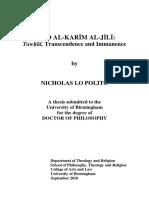 """Abd Al-Karim Al-Jili, Tawhid Transcendane et Immanence"" Nicholas Lo Polito"