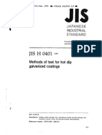 JIS H 0401 -1999-(Methods of Test for Hot Dip Galvanized Coatings)