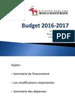 Budget 2016-2017 de la DSFM
