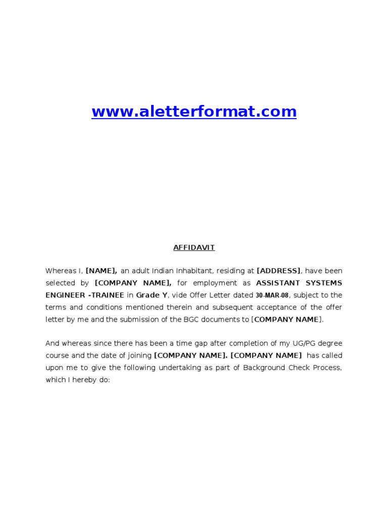 Affidavit Formats Sample Blank Affidavit Form 6 Documents in Pdf – Affidavit Forms Free