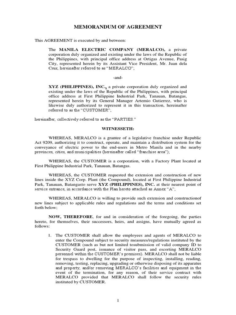 Sample Memorandum Of Agreement Social Institutions Society
