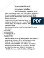 Spreadsheets and Computer modeling