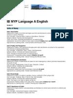 2015 IB MYP Language and Literature Syllabus Grade 10