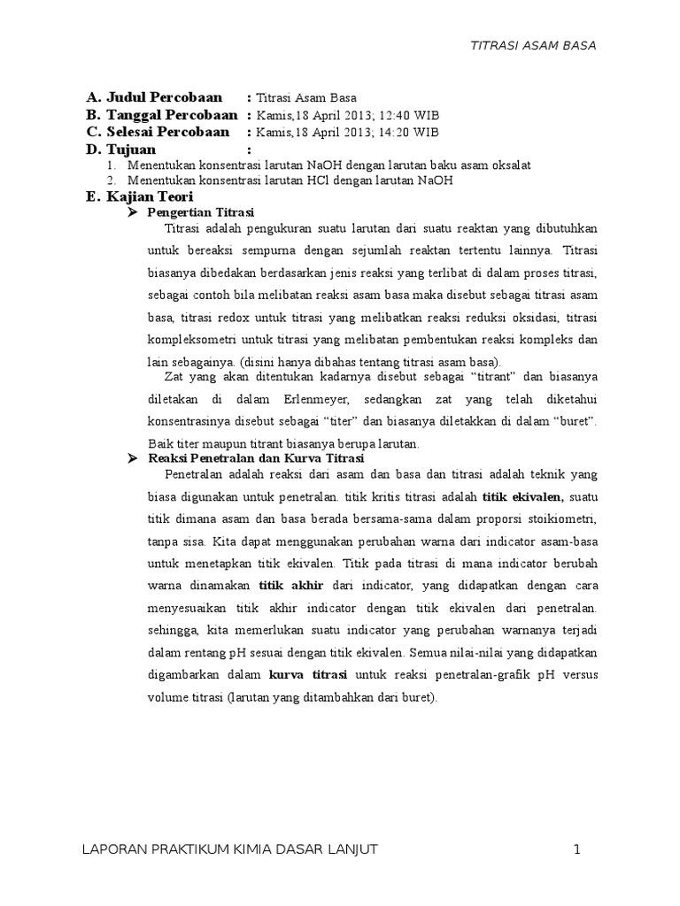 Laporan Praktikum Titrasi