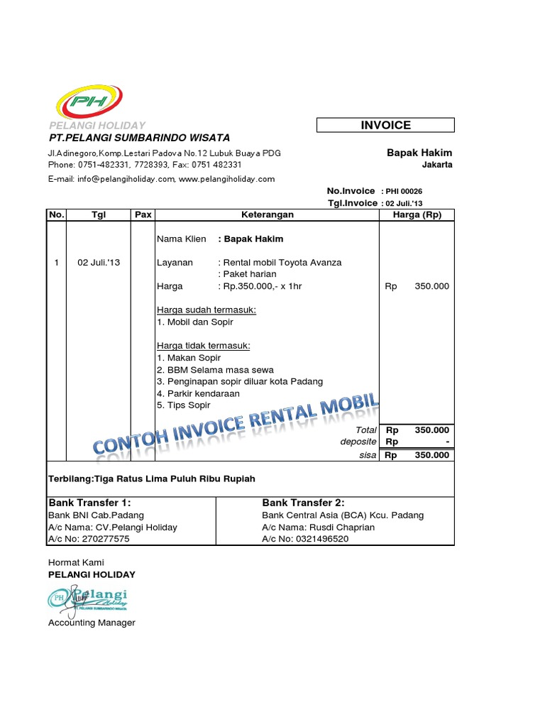 Contoh Invoice Rental Mobil Padang
