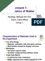 Expt 1-Characteristics of Matter