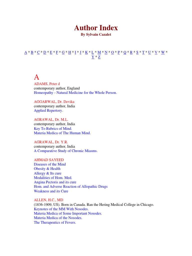 Author Index   Homeopathy   Health Sciences