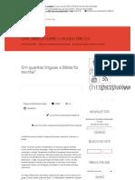 Em Quantas Línguas a Bíblia Foi Escrita