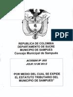 ACUERDO 003 - 2015 Estatuto de Rentas