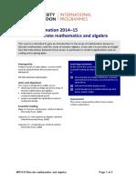 MT3170 Discrete Mathematics and Algebra