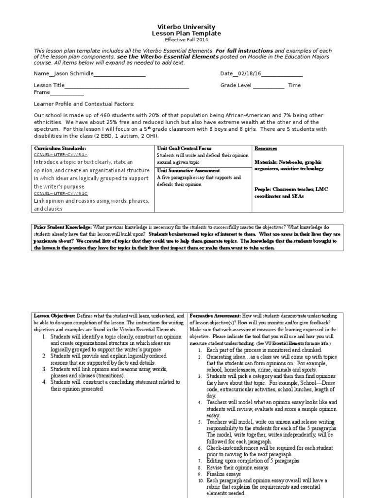 Vu Lesson Plan Template Lesson Plan Essays - University lesson plan template