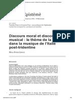 Discours Moral Et Discours Musical_ Le Thème de La Vanité Dans La Musique de l'Italie Post-tridentine