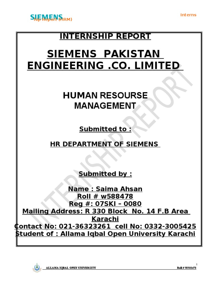 Saima Ahsan Final Report of Mba Hrm | Siemens | Human Resource