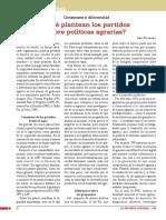 ¿Qué plantean los partidos sobre políticas agrarias?