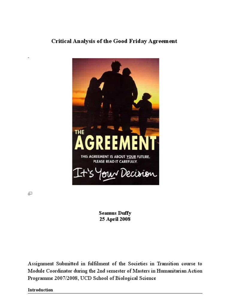 critical analysis of the good friday agreement republic of