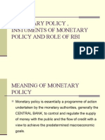 Monetary Policy , Instuments of Monetary Policy And