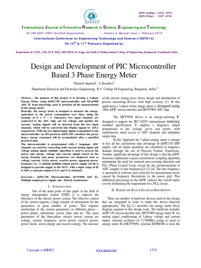 Design And Development Of Pic Microcontrollerbased 3 Phase Energy 4 Wire Diagram Meter Meterpdf Analog To Digital Converter Power Supply