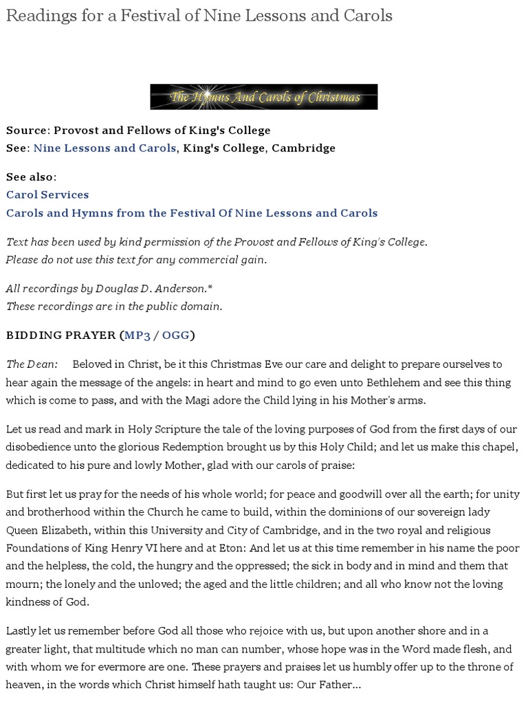 Readings For A Festival Of Nine Lessons And Carols