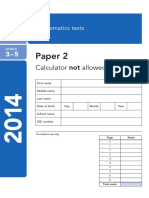 Satspapers 2014 Ks2 Maths Paper2 Calculator Not Allowed Levels 3 5