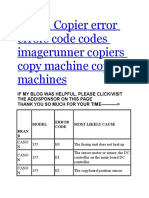 Canon Copier Error Errors Code Codes Imagerunner Copiers Copy Machine Copy Machines
