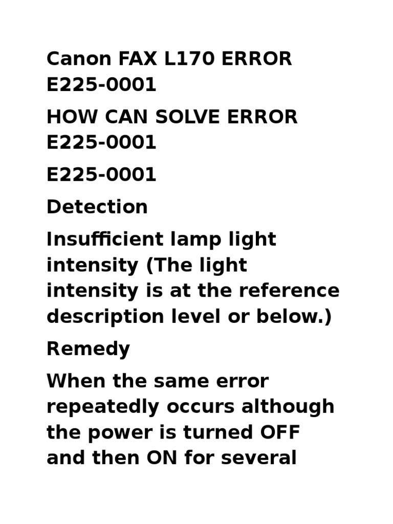 Canon Fax l170 Error e225