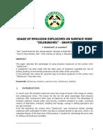 "Usage of Emulsion Explosives on Surface Mine ""Zelenikovec""-s (1)"