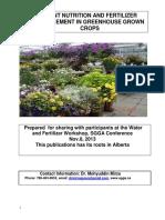 Plant Nutrition, Water and Fertilizer Management