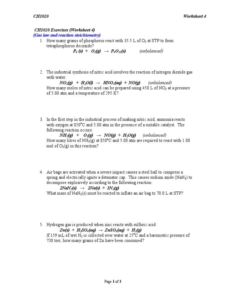 Worksheet 4 Reaction Stoichiometry21 – Worksheet 2 Synthesis Reactions
