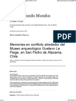 Memorias en Conflicto Alrededor Del Museo Arqueológico Gustavo Le Paige, En San Pedro de Atacama, Chile
