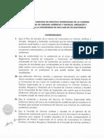 REGLAMENTO DEL EJERCICIO DE PRÁCTICA SUPERVISADA Y ACUERDO DE LA HOMOLOGACIÓN DE LA CARRERA