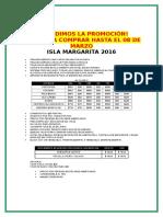 Promo a Isla Margarita Para Comprar Hasta El 07 DE MARZO