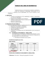 Plan de Trabajo Del Área de Matemática