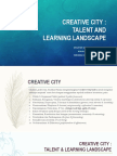 CREATIVE CITY Talent and Learning Landscape