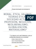 Ensayo Etica I (MORAL, ÉTICA, VALORES, TEORÍAS ÉTICAS, SOCIEDAD ACTUAL, PROFESIÓN, NEGOCIOS, NEOLIBERALISMO, GLOBALIZACIÓN, MATERIALISMO)