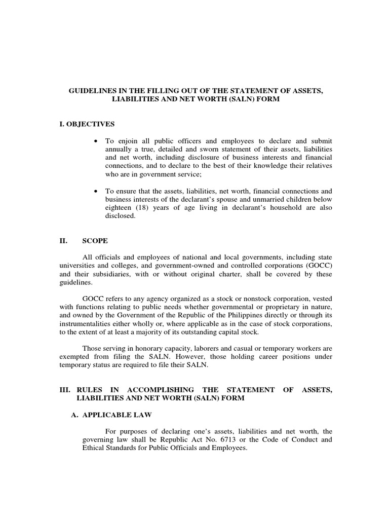 Guidelines in the Filling Out of the Statement of Assets – Asset and Liability Statement Template
