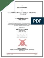 "A STUDY OF MUTUAL FUND AT MAHINDRA FINANCE"""