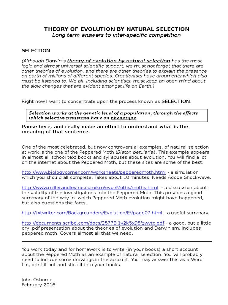 Peppered Moth Evolution Assignment – Peppered Moth Worksheet
