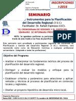 Seminario. Metodos e Instrumentos Para La Planificacion Del Desarrollo Regional