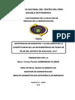 ESTRATEGIAS DE MARKETING Y SU INFLUENCIA EN LA COMPETITIVIDAD EN LAS MICROEMPRESAS DE TEJIDO DE TELAR DEL DISTRITO DE HUALHUAS, 2014