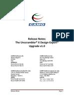 Release Notes Design-Expert Upgrade v1.0