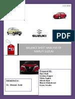 Balance Sheet Analysis of Maruti Suzuki