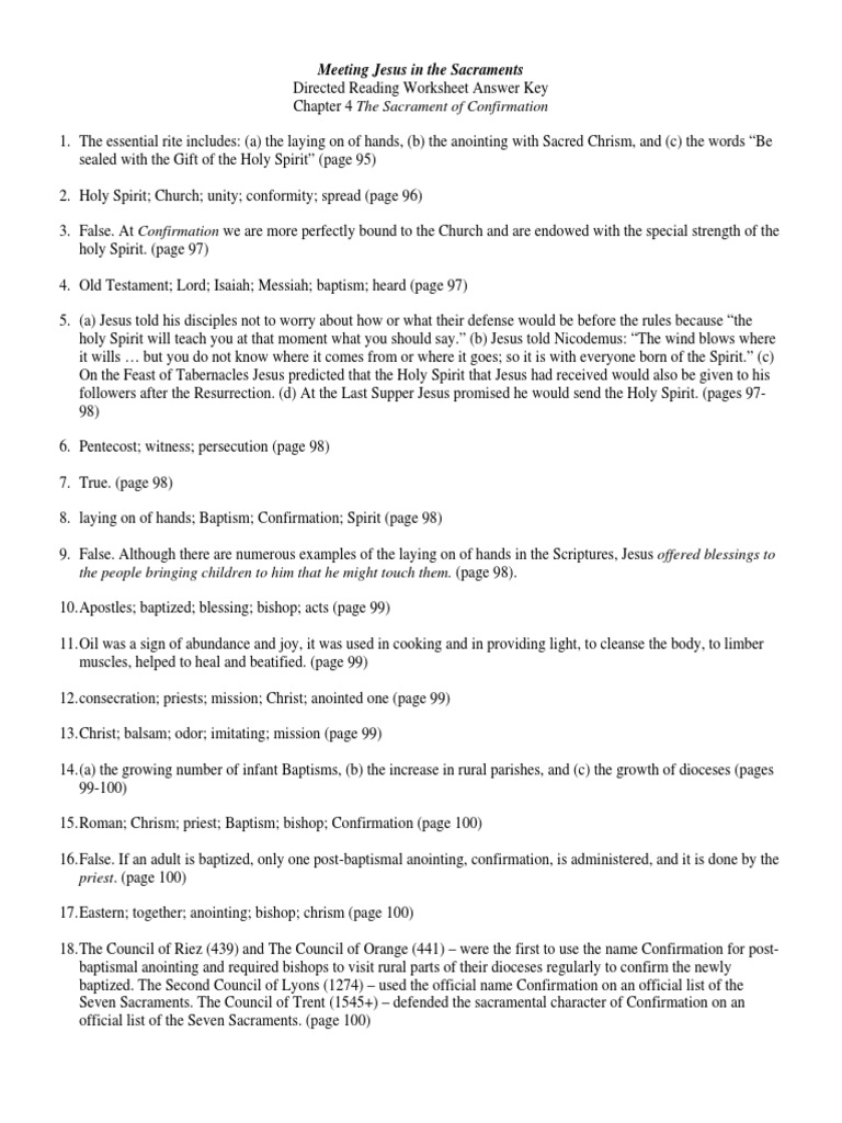 Sacraments Chapter 4 Direct Reading Worksheet Answers
