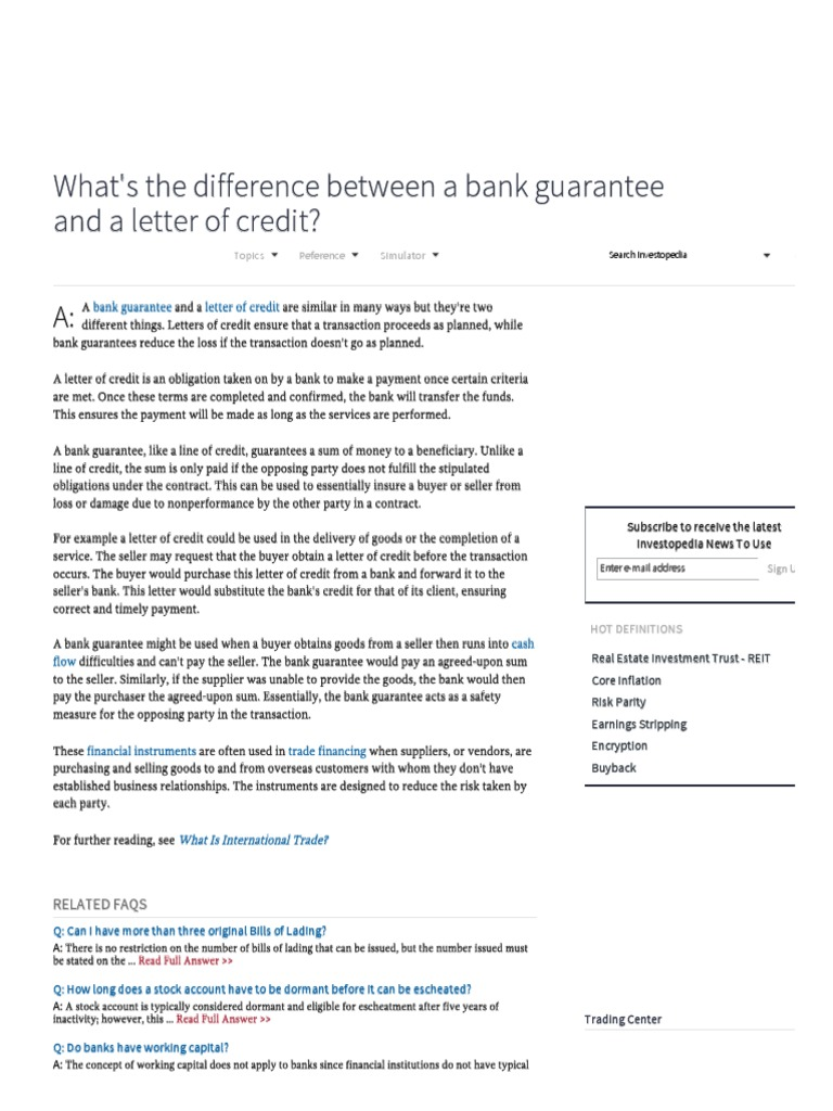 Whats the difference between a bank guarantee and a letter of whats the difference between a bank guarantee and a letter of credit investopedia letter of credit credit finance thecheapjerseys Image collections
