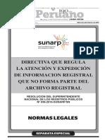 Directiva que regula la atención y expedición de información registral que no forma parte del Archivo Registral.