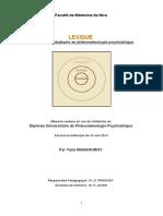 Lexique de Phenomenologie