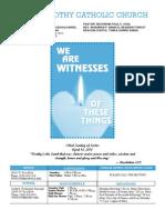St. Timothy Parish Bulletin April 18, 2010